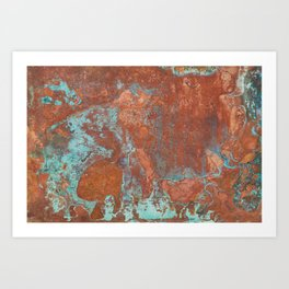 Tarnished Metal Copper Texture - Natural Marbling Industrial Art Art Print