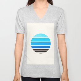 Cerulean Blue Minimalist Mid Century Modern Watercolor Stripes Sunset Circle Abstract Pattern Unisex V-Neck