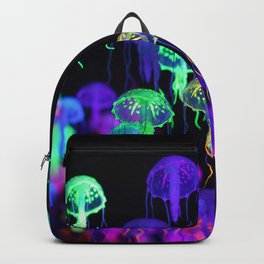 A smack of fluorescent jellyfish floating, marine life background Backpack