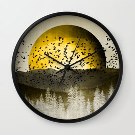 Gold Mountain Moonrise Wall Clock