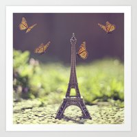 eiffel tower Art Prints featuring Eiffel Tower by Gabriela Da Costa