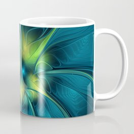 Flourish and Blue, Abstract Fractal Art Coffee Mug