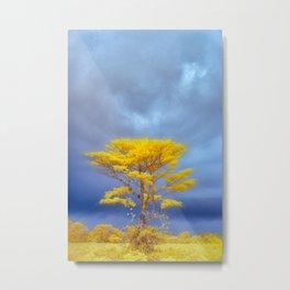 One Yellow Tree Metal Print