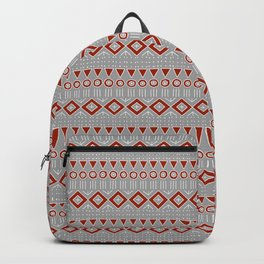 Mudcloth Style 2 in Red on Gray Backpack