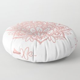 Rose Gold Mandalas on Marble Floor Pillow