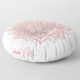 Rose Gold Mandalas on Marble Floor Pillow
