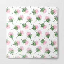 Pink thistel - Waterolor Metal Print