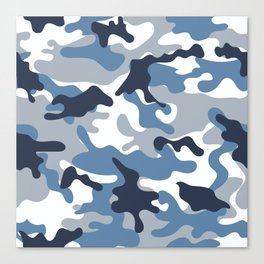 Blue and White Camo Canvas Print