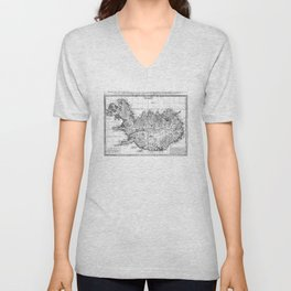 Vintage Map of Iceland (1761) BW Unisex V-Neck