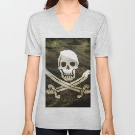 Pirate Skull in Cross Swords Unisex V-Neck