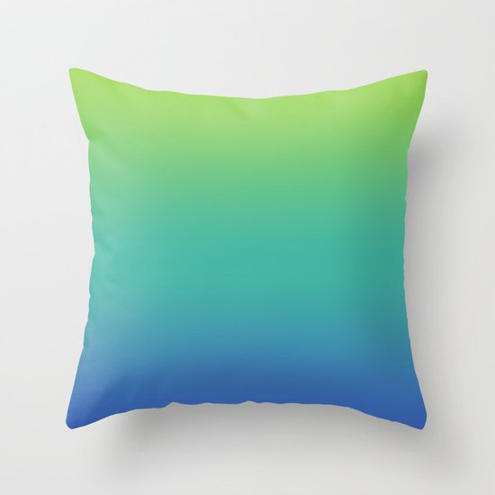 GREEN -> TEAL -> BLUE FADE Throw Pillow