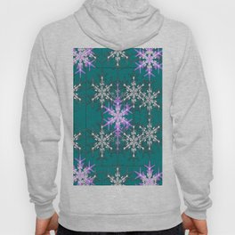 Teal and Violet Snowflakes Abstract  Hoody