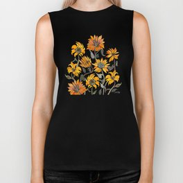Sunflower Watercolor – Yellow & Black Palette Biker Tank