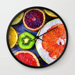 Colorful Citrus & Kiwi Club - For Fruit Lovers Wall Clock