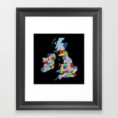 UK on Black Framed Art Print