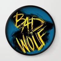 bad wolf Wall Clocks featuring BAD WOLF by Amanda Steuck