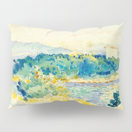 Mediterranean Landscape With a White House Watercolor Landscape Painting Pillow Sham