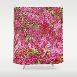 GREEN & FUCHSIA PINK CRABAPPLE FLOWER SPRING ART Shower Curtain