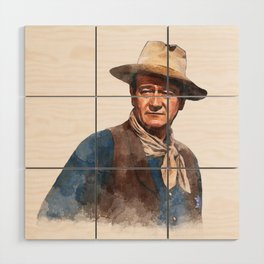 John Wayne - The Duke - Watercolor Wood Wall Art
