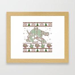 Hockey Goalie Christmas Framed Art Print