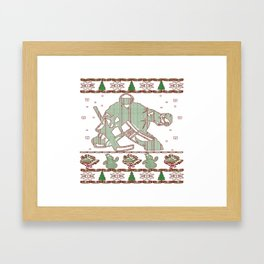 Hockey Goalie Christmas Framed Art Print