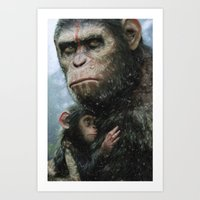 planet of the apes Art Prints featuring Dawn of the Planet of The Apes by crayonide