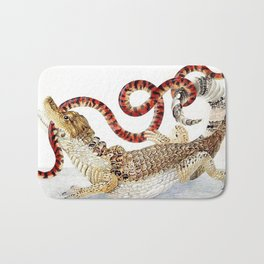 Spectacled Caiman and a False Coral Snake by Maria Sibylla Merian c.1705-10 // Wild Animals Decor Bath Mat