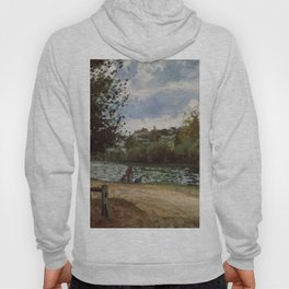 The Banks Of The Oise At Pontoise 1870 By Camille Pissarro | Reproduction | Impressionism Painter Hoody