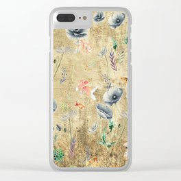 Fishes & Garden #Gold-plated Clear iPhone Case