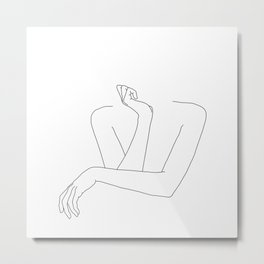 Minimal line drawing of woman's folded arms - Anna Metal Print