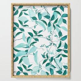 fresh green leaf pattern Serving Tray