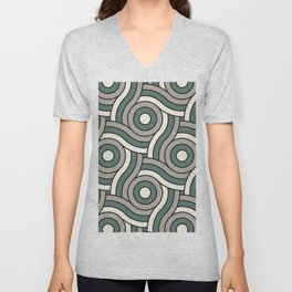 Circle Swirl Pattern Ever Classic Gray 32-24 Thistle Green 22-18 and Dover White 33-6 Unisex V-Neck