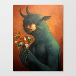 Monster With Bouquet Canvas Print