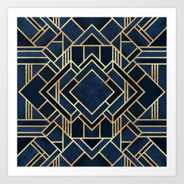 Art Deco Fancy Blue Kunstdrucke