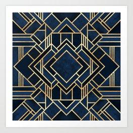 Art Deco Fancy Blue Art Print