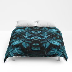 TEAL LEAVES MANDALA Comforters