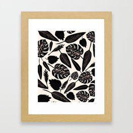 Monstera pattern in black and pastel Framed Art Print