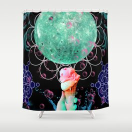 Strawberry Mint Moon Cone Shower Curtain