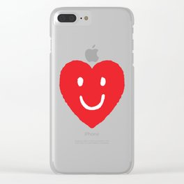 Happy Heart Smile Face Drawing Clear iPhone Case