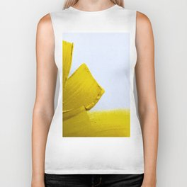 ABSTRACT MODERN YELLOW FLOWER PAINTING Biker Tank