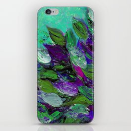 BLOOMING BEAUTIFUL 1 - Floral Painting Mint Green Seafoam Purple White Leaves Petals Summer Flowers iPhone Skin