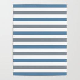 Grayish blue, gray and white horizontal stripes Poster