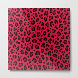RED LEOPARD PRINT – Cherry Red | Collection : Punk Rock Animal Prints. Metal Print