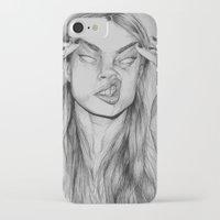 cara iPhone & iPod Cases featuring Cara by David Pérez