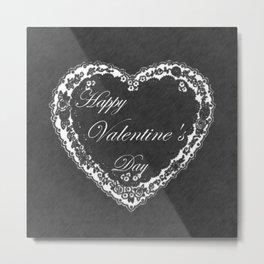 Happy Vintage Valentine Chalkboard Metal Print