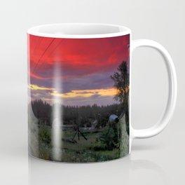 Northern sunset and a railway Coffee Mug