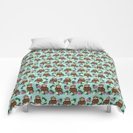 Sloth and Hibiscus Comforters