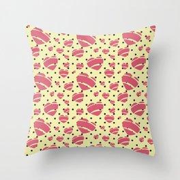 Bright Romantic Retro Heart by Jezli Pacheco Throw Pillow