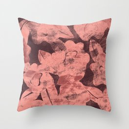 DISTRESSED FLORAL MAUVE Throw Pillow