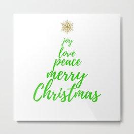 Christmas Tree - Green Gold - Merry Christmas Metal Print